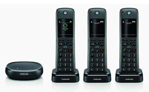Motorola AXH03 Triple Pack Built In Alexa Wireless Telephone Answering Machine