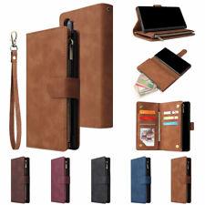 For Samsung S10 S10e S9 S8 Zipper Wallet Flip Card Holder Leather Case Cover