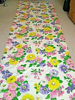 Pink Purple Yellow Bold Floral Flower Cotton Fabric Remnant 105 x42 3 Yds Spring