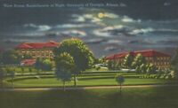 Amphitheatre At Night University Of Georgia Athens GA Linen Vintage Postcard