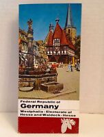 Germany Map Vintage 1967 Travel Brochure Westphalia Weserbergland