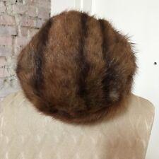 e952474b543d1 Vintage Women s Hat Brown Mink Pillbox Sabau Furs Size 7 Jackie O