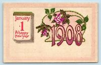 1908 HAPPY NEW YEAR ARTS & CRAFTS POSTCARD - PURPLE & GOLD EMBELLISHED - O2