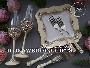 Swarovski Crystal Silver Wedding Ivory Cake Knife Server Set Flute Plate Sparkle