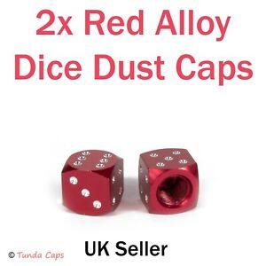 2X Red Dice Alloy Valve Stem Dust Caps Car BMX Motorbike Mountain Bike Retro Van