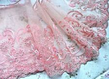 "1Y ~6.5""~Venice Embroidered Lace Trim Tulle Floral Bridal Wave Rim Dress Salmon"