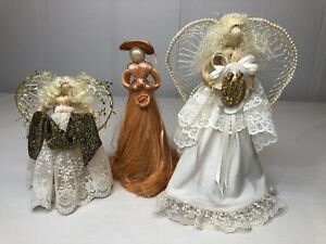 Lot of 3 Angel Straw Dolls