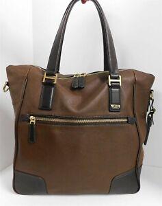 Tumi 2 Tone Brown Leather Large Tote Bag $500+ retail