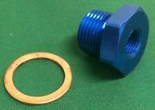 Oil Water Pressure Temp Sensor Adapter M18x1.5 -1/8 NPT NEW BLUE