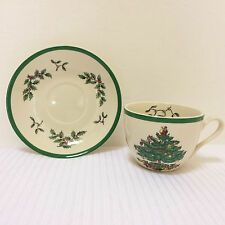 "2 Piece Spode *CHRISTMAS TREE* 7 oz. TEACUP and 5-1/2"" SAUCER Set - NEW"