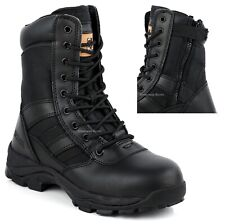MENS WATERPROOF COMBAT SAFETY WORK BOOTS ARMY MILITARY POLICE STEEL TOE CAP SIZE