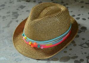 Billieblush Girls Gold Pom Pom Fedora Hat Size 54 NWT