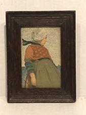 Circa 1900 Arts and crafts Small Frame All Original PatinaWith Antique Postcard