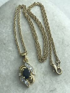 Genuine Sapphire Pendant Necklace Set - Gold Plated - RRP £34.99 - Free P&P - UK