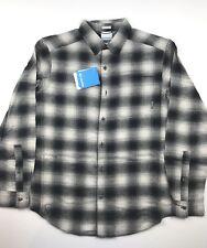 Columbia Mens Large Black Creme Plaid Boulder Ridge Brushed Flannel Shirt NWT