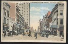 POSTCARD TOLEDO OHIO OH SUMMIT STREET TROLLEY STREETCAR BUSINESS STORE FRONTS