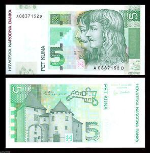 CROATIA  5 Kuna 2001 UNC  P37a Zrinski-Frankopan on face Varazdin castle back