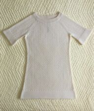 Brand New~Qi Cashmere~Sweater Dress~Size L~100% Cashmere~Ivory~Short Sleeves~Zig