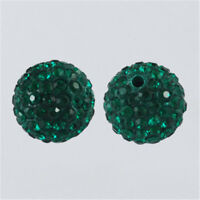 100 Pcs Polymer Clay Rhinestone Pave Disco Ball Beads Emerald 10mm Hole 1.5mm