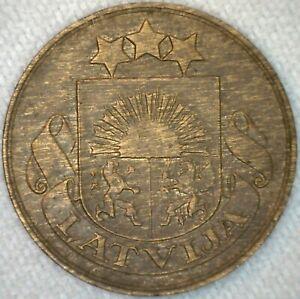 1932 Latvija 2 Santimi Bronze Coin Latvia K45