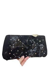 NEW Black Cotton Denim Estee Lauder Stars Makeup Cosmetic Bag