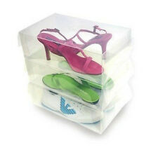 Transparent-clear plastic-shoe box-foldable-stackable-organised-storage  20pack