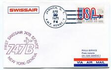 FFC 1971 Swissair Phila Service First Flight B 747 New York Geneva AMF Kennedy