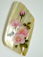 Hand painted mother-of-pearl brooch Flowers 2