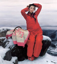 Wonderful Oil painting Beautiful Chinese country girl in red with snow view