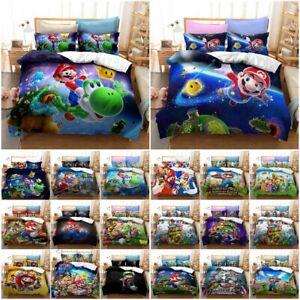 Super Mario 3D Quilt Duvet Cover Pillowcase Single Double King  Bedding Set Gift