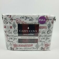 Cabin Cove Full Celebration Holiday Flannel Sheet 4 Piece Set
