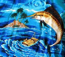 Vibrant blue marlin Hawaiian shirt fishing desert island sunset LARGE