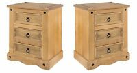 Corona 2x 3 Drawer Bedside Cabinet Tables Large Solid Medium Wood Mexican Pine