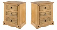 Corona Solid Pine Pair of 3 Drawer Bedside Cabinets Lamp Table Quality Furniture