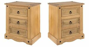 Corona Bedside Cabinets Pair 3 Drawers Large Tables Solid Wood Mexican Pine