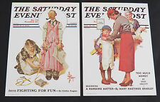 """2 Saturday Evening Post Covers Lithograph Reproductions Lot 5""""x7"""" Prints"""