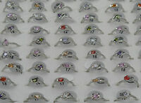 Wholesale Mixed Lots Jewelry 30pcs Resale Zirconia Silver Plated Women Rings