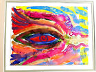 """Hunt Slonem""""Eye of Hashem""""excellent Mystical theme,extremely rare watercolor!!!."""