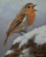 John Silver Original Oil Painting - Robin Bird In The Winter Snow (Wildlife Art)