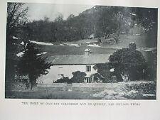 ANTIQUE PRINT C1910 THE HOME OF HARTLEY COLEBRIDGE DE QUINCEY NAB COTTAGE RYDAL