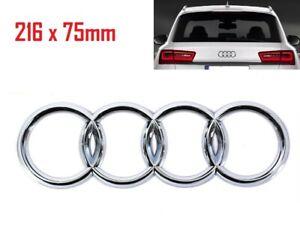 216x75mm Chrome Silver Rear Back Badge Rings Logo Emblem Audi A6 Q3 Q5 Q7
