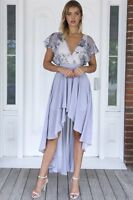 BNWT Angel Biba Grey & Silver Sequins Chiffon Maxi Dress 8 10 - LAST ONE, SALE!