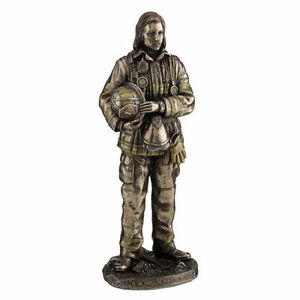 "11.75"" Female Firefighter Standing Home Decor Statue Figurine Fire Fighter"