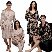 Mens Women Couple Silk Satin Pajamas Sleepwear Kimono Robe Night Gown Loungewear