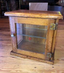 Antique BARBER CABINET ANTISEPTIC STERILIZE WOOD GLASS DOOR SIDES RED CROSS LOGO