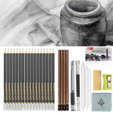 Set Of 17 GRADED ART SKETCHING PENCILS IN CASE H,B Drawing/Shades/Light/Dark US
