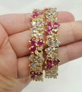 Gold Plated 2 Kara Bangles With American Diamonds In Pink And White.