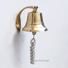 "Solid Brass Ship's Bell Small 4"" Nautical Doorbell Wall Hanging Decor New"