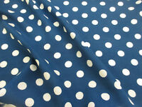 Teal & White Pollkadot, Spots 100% Viscose Summer Printed Dress Fabric.