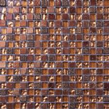 Gold Glass & Brown Stone Mosaic Tiles 0158